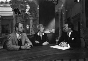 Eric Malone, Jean McNeil, and Marc Johnson on the set