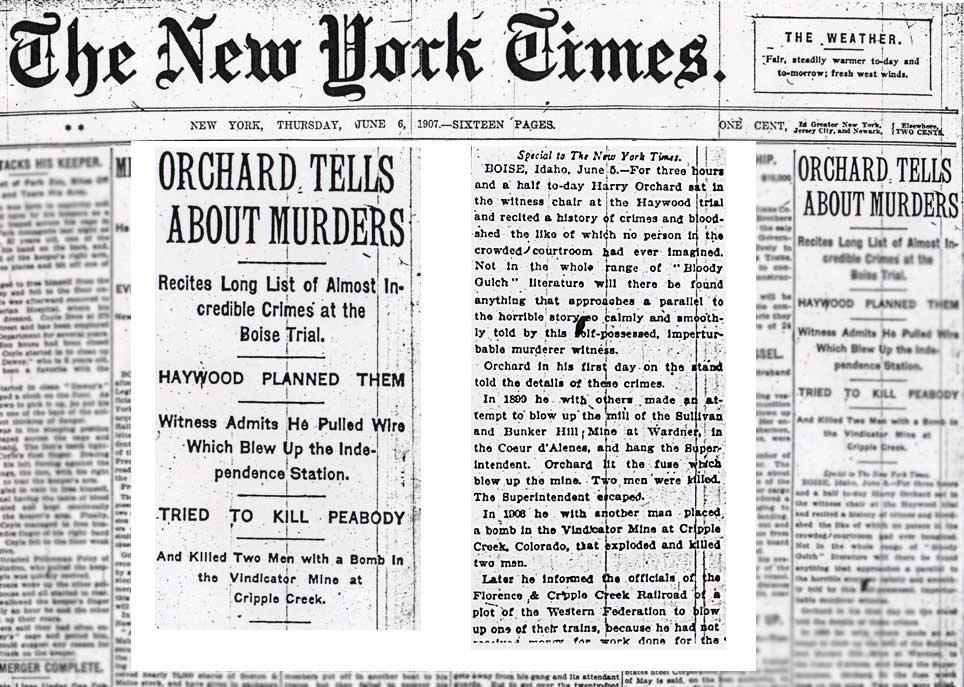 NEW YORK TIMES - ORCHARD TELLS ABOUT MURDERS