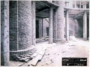 Columns in 1911 wait for the original coating of scagliola