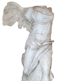 Replica of the Winged Victory of Samothrace statue on the 4th floor