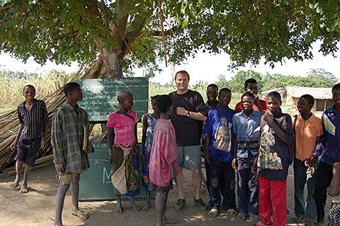 Greg Carr at the school tree in the nearby village