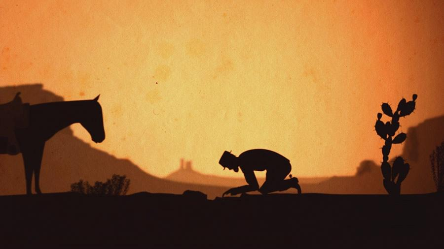 illustrated silhouette of a man in a had on his knees digging in the ground