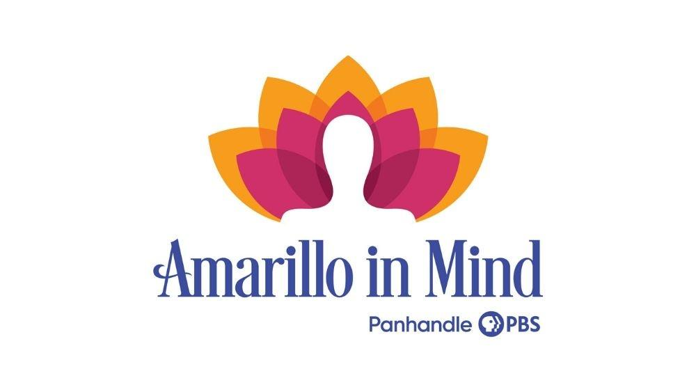 """Human silhouette in front of multi-colored flower featuring text """"Amarillo in Mind, Panhandle PBS"""""""