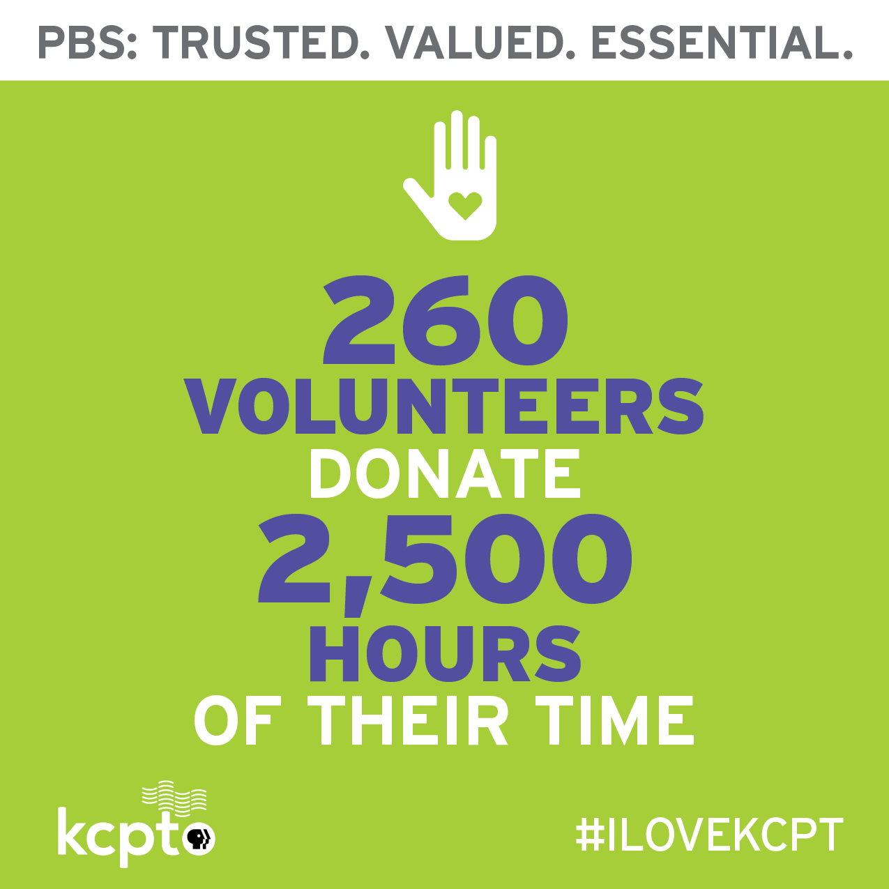260 volunteers donated 2,500 hours of their time for KCPT.