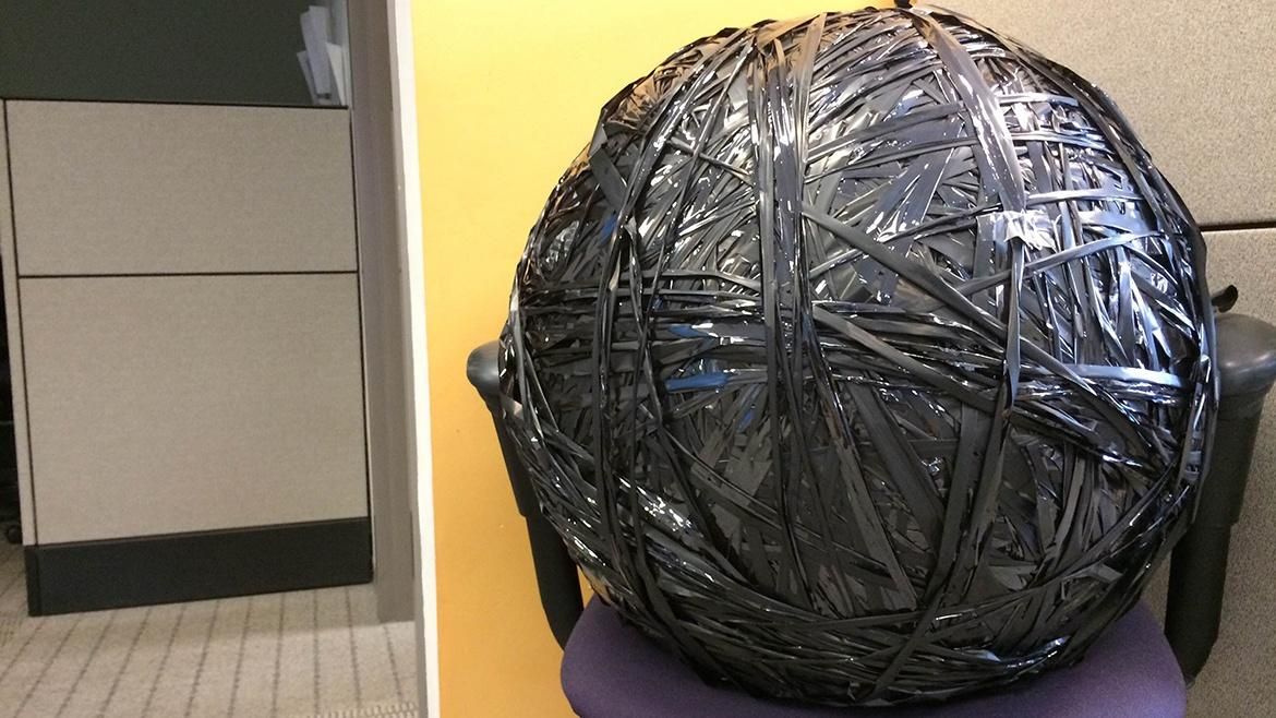 Photo of a large ball of silver tape