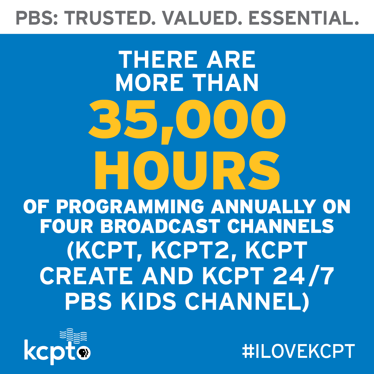 KCPT broadcasts over 35 thousand hours of broadcasting a year.