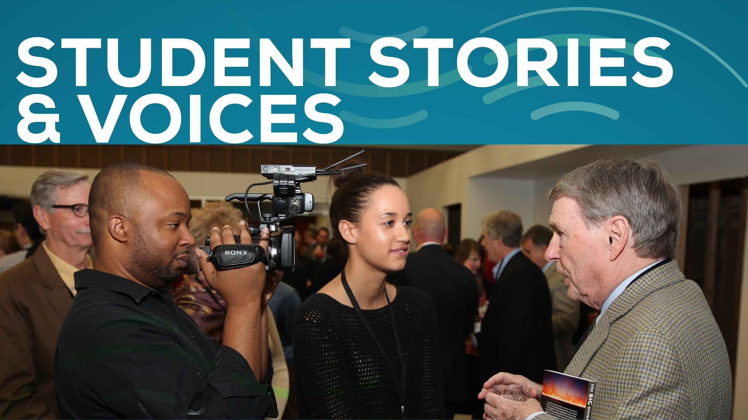 Student Stories and Voices, image of Ken Burns with 2 students