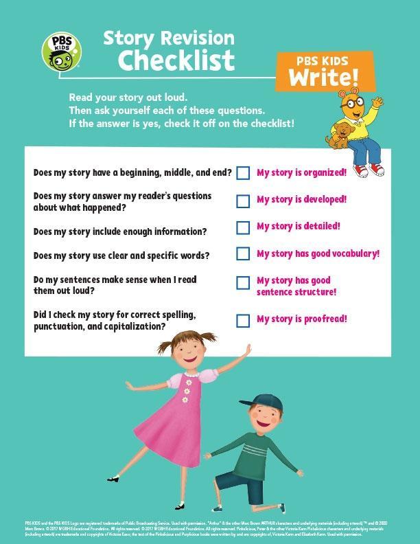 Story Revision Checklist  - PBS Kids Worksheet