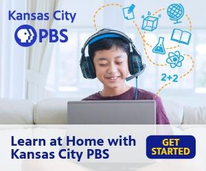Kansas City PBS logo, kid with headphones smiling on laptop with subject icon graphics; Learn at Home with Kansas City PBS  - Get Started