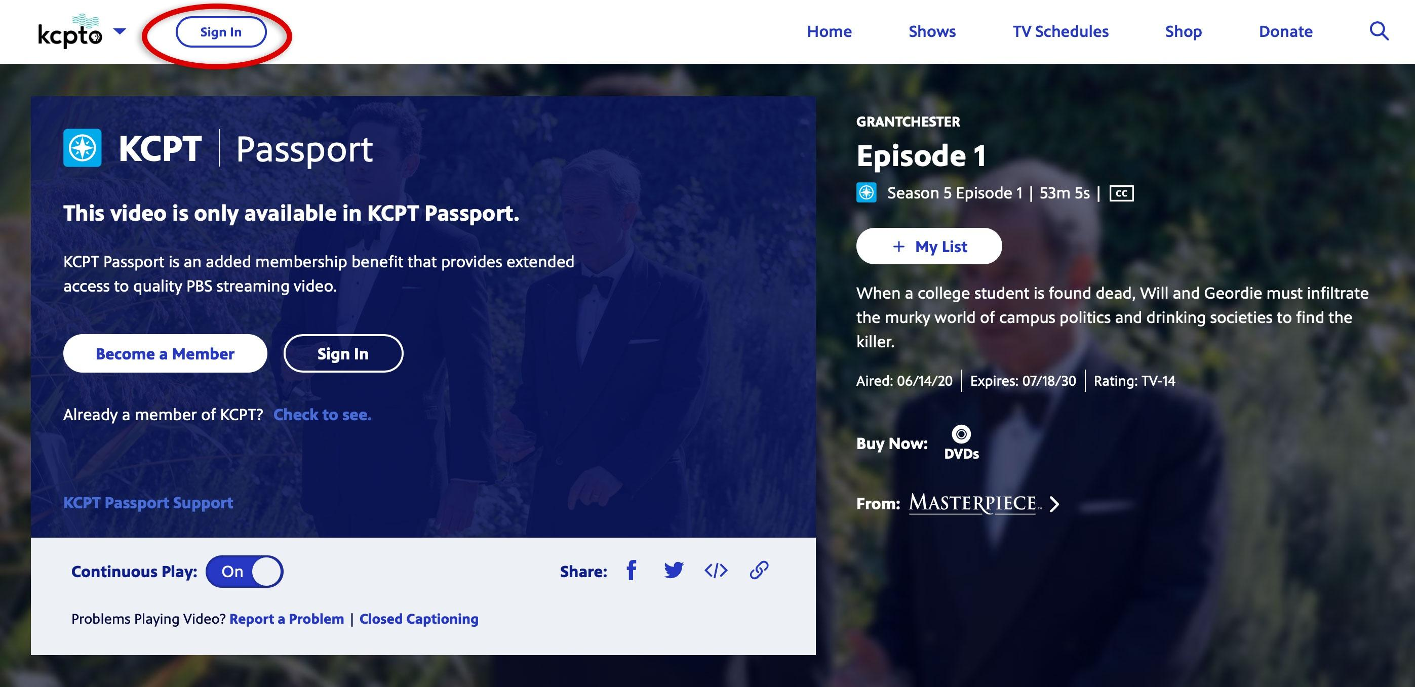 """Screenshot of KCPT Passport Program with """"Sign In"""" at top left circled in red."""