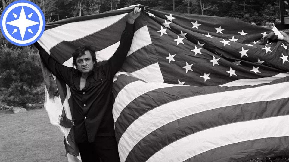 Johnny Cash with American Flag, compass rose icon overlay