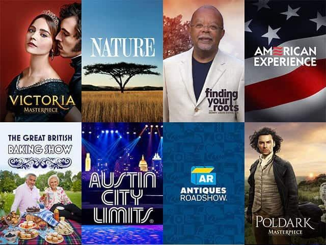 Victoria, Nature, Finding Your Roots, American Experience, Great British Baking Show, Austin City Limits, Antiques Roadshow, Poldark show posters