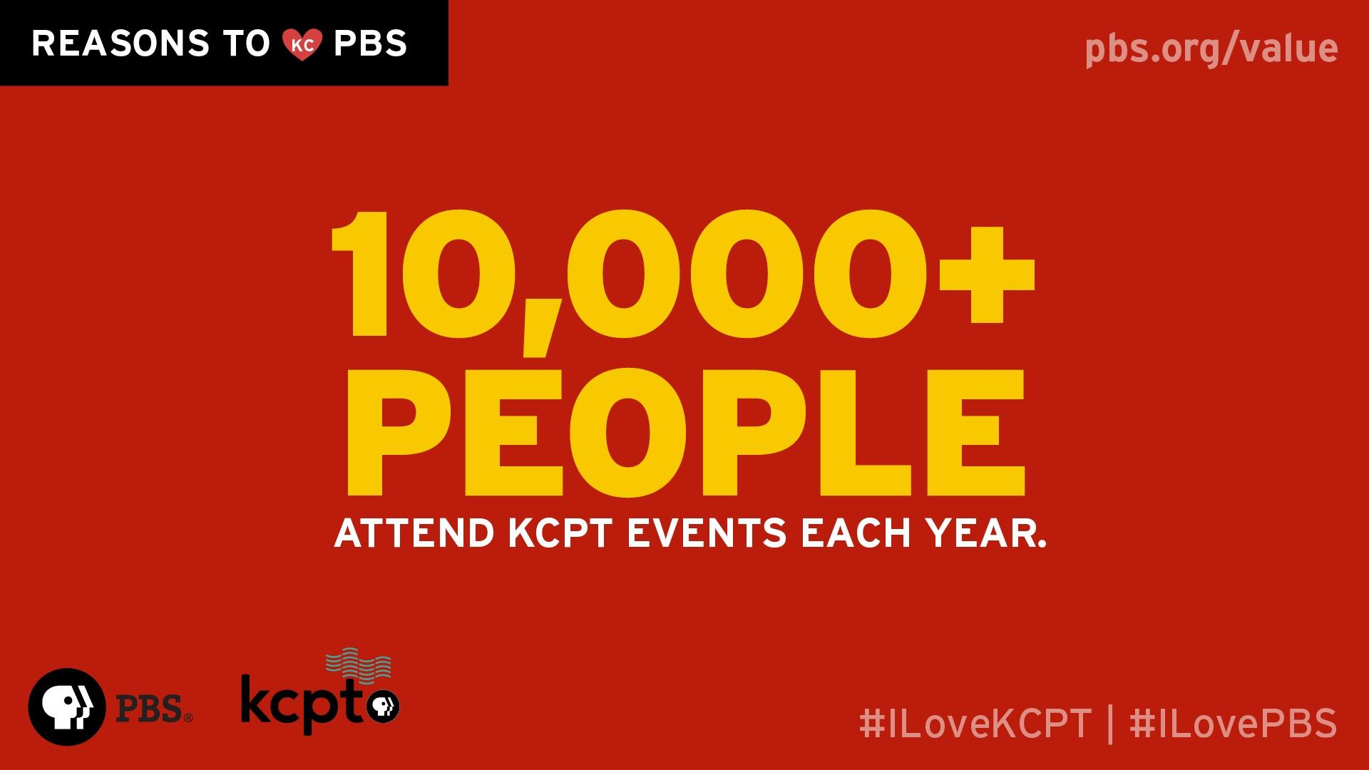 10,000+people attend KCPT events each year.