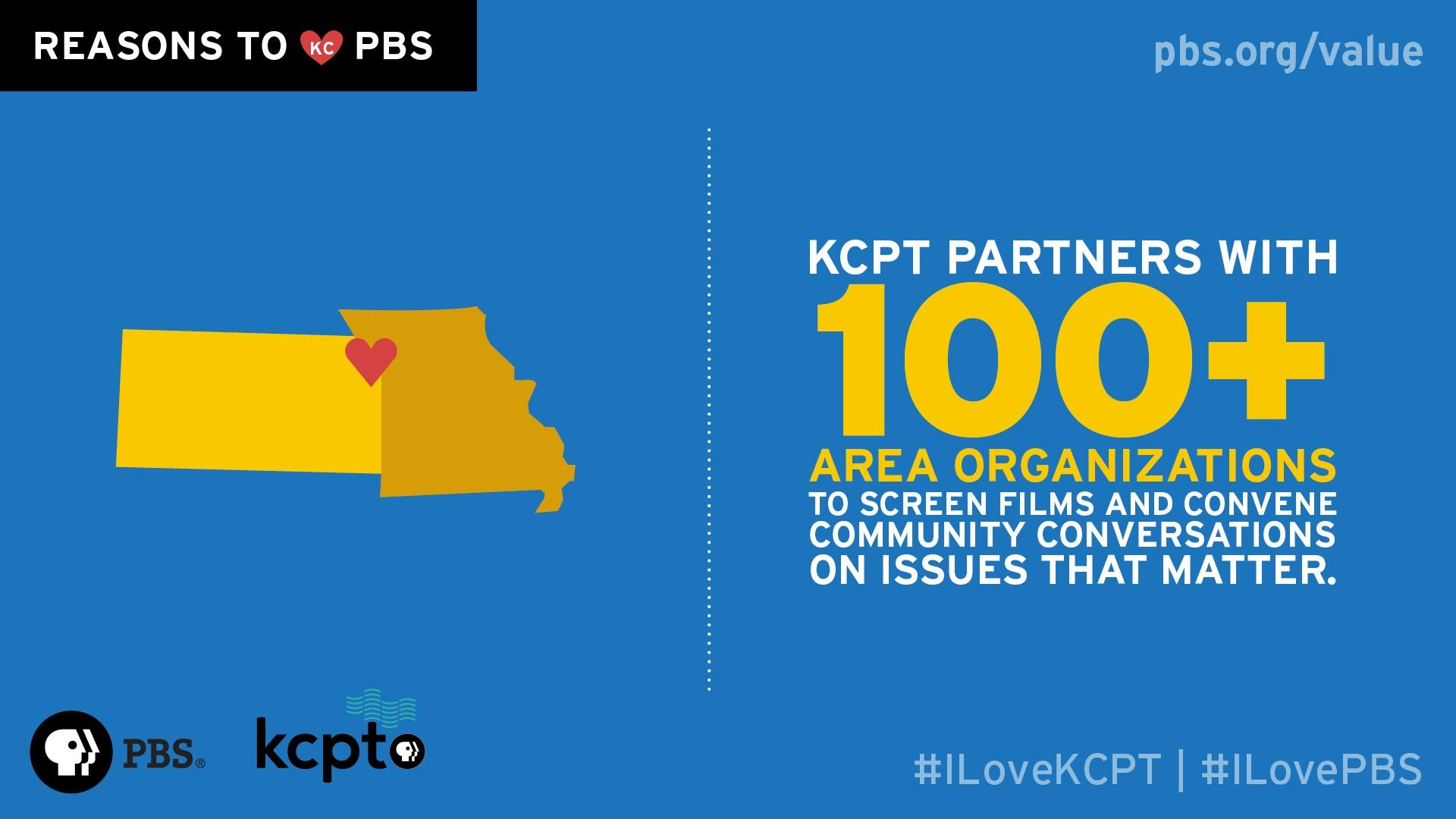 KCPT partners with 100+ area organizations to screen films and convene community conversations on issues that matter.
