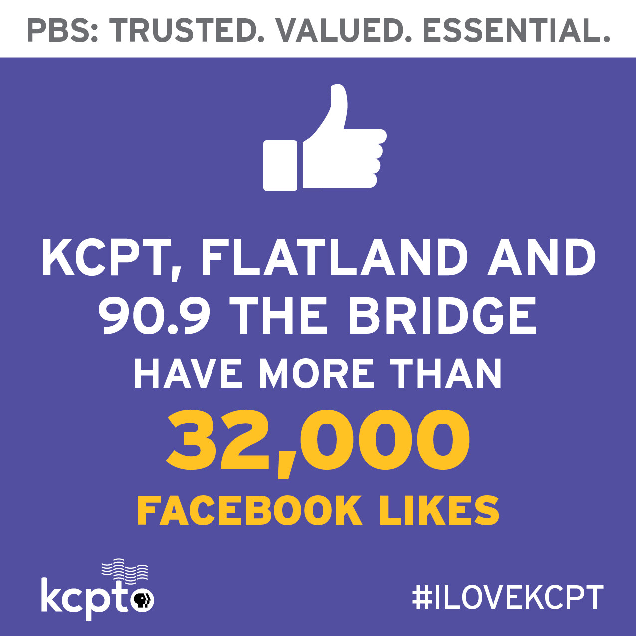 KCPT, Flatland and 90.9 the Bridge have over 32 thousand Facebook likes.
