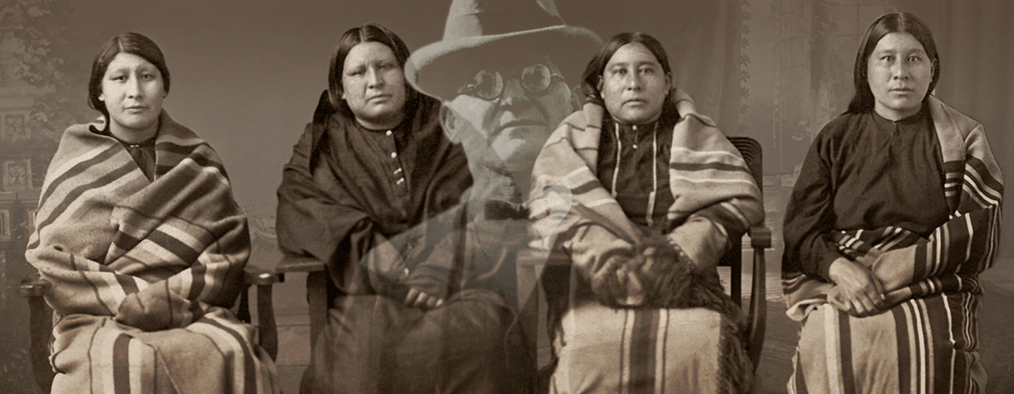 Historical image of Osage women with overlay of murderer, William Hale.