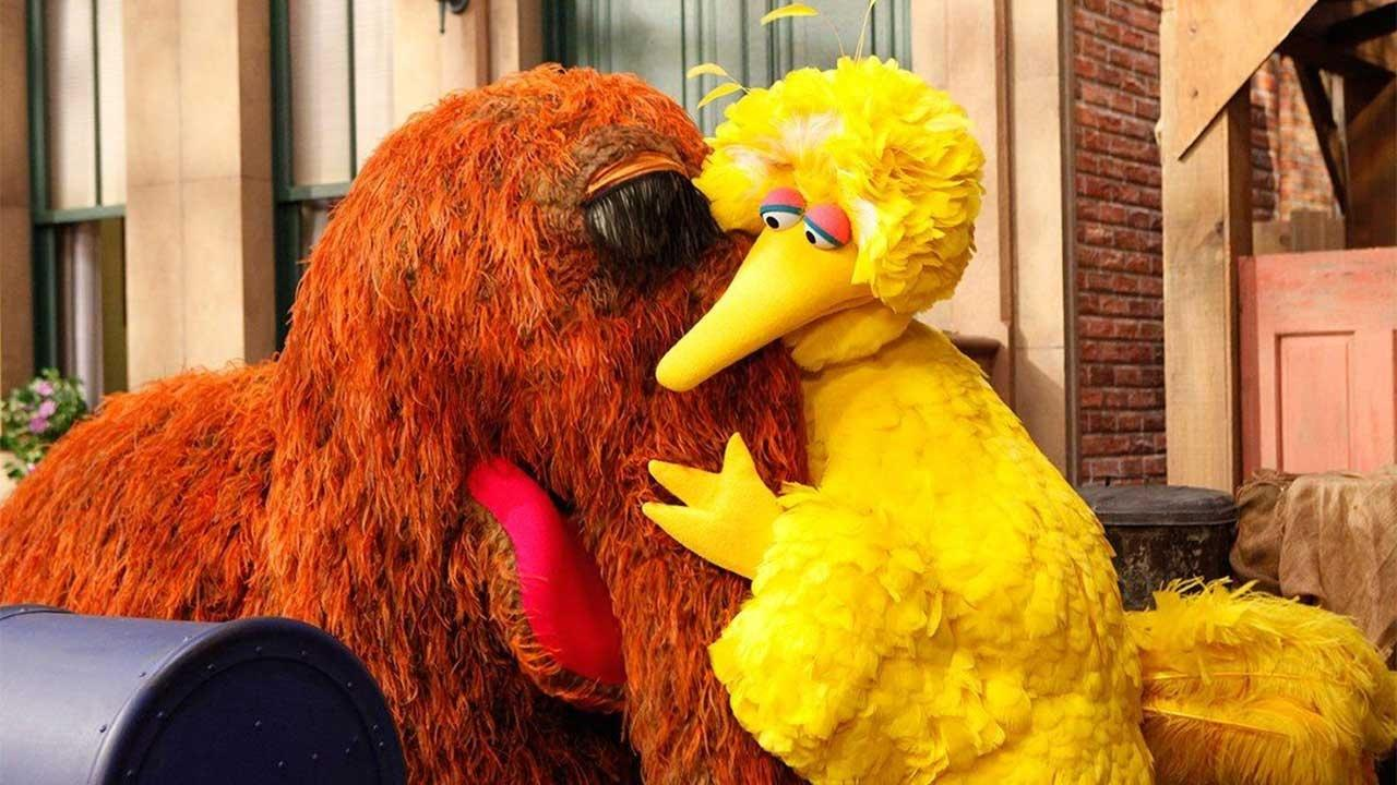 Big Bird and Snuffy - helping one another