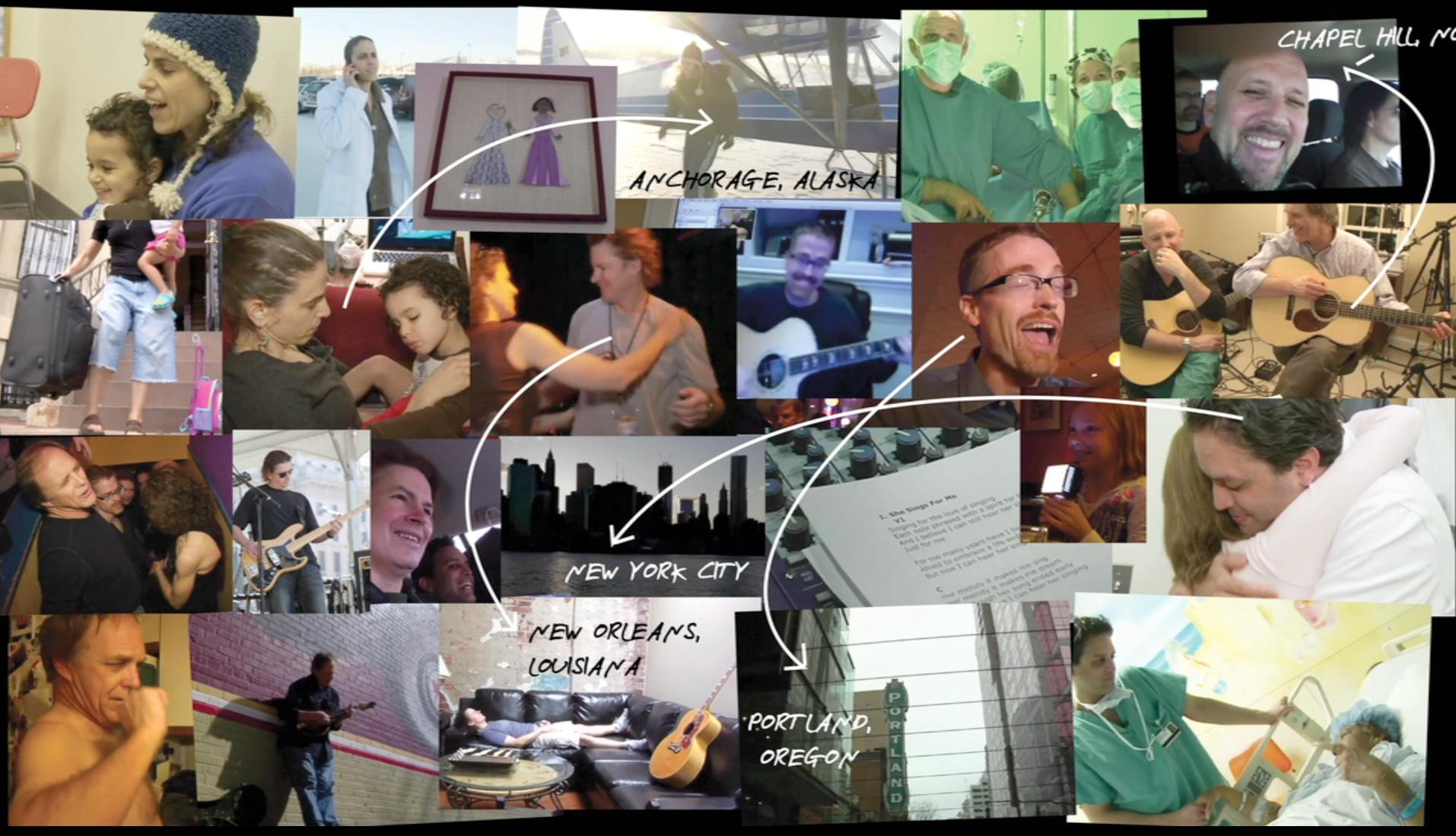 collage of images of NED band with some location captions