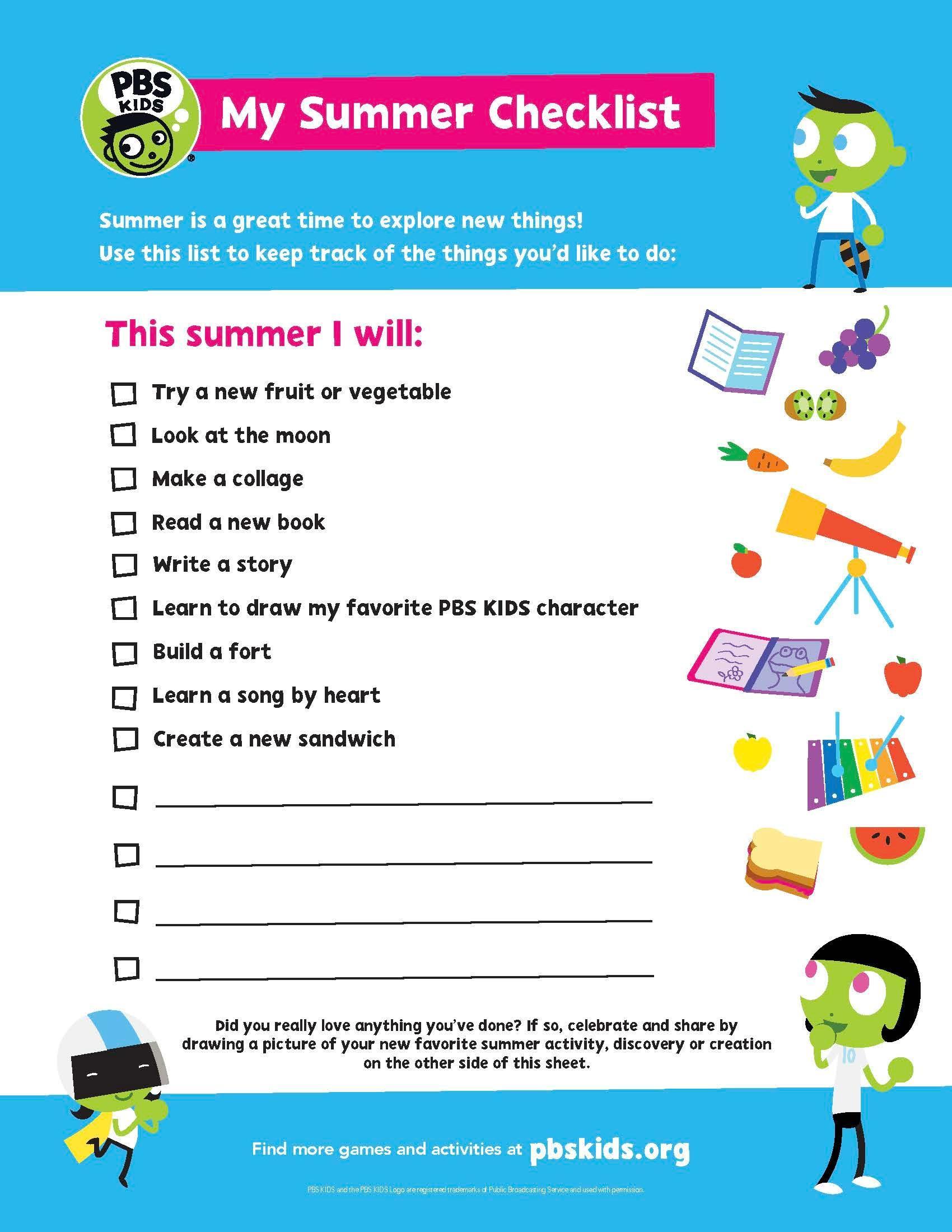 """PBS Kids """"My Summer Checklist"""""""