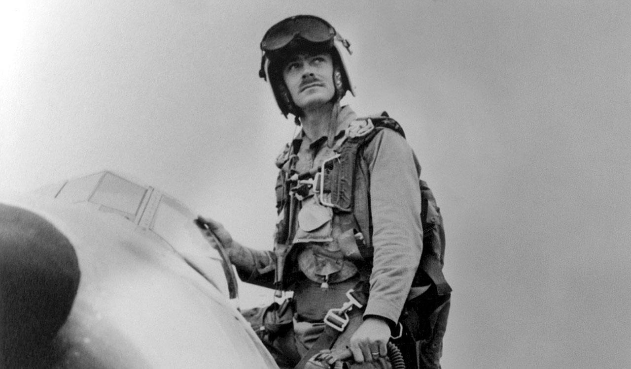 "US Marine Corps (USMC) Major (MAJ) John F. Bolt, the USMC first ""Jet Ace"" credited with 6 kills"