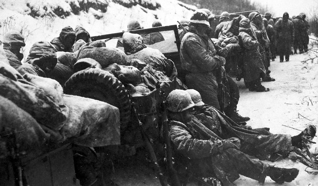 Marines of the 5th and 7th Regiments endure nights of below zero winds and icy roads