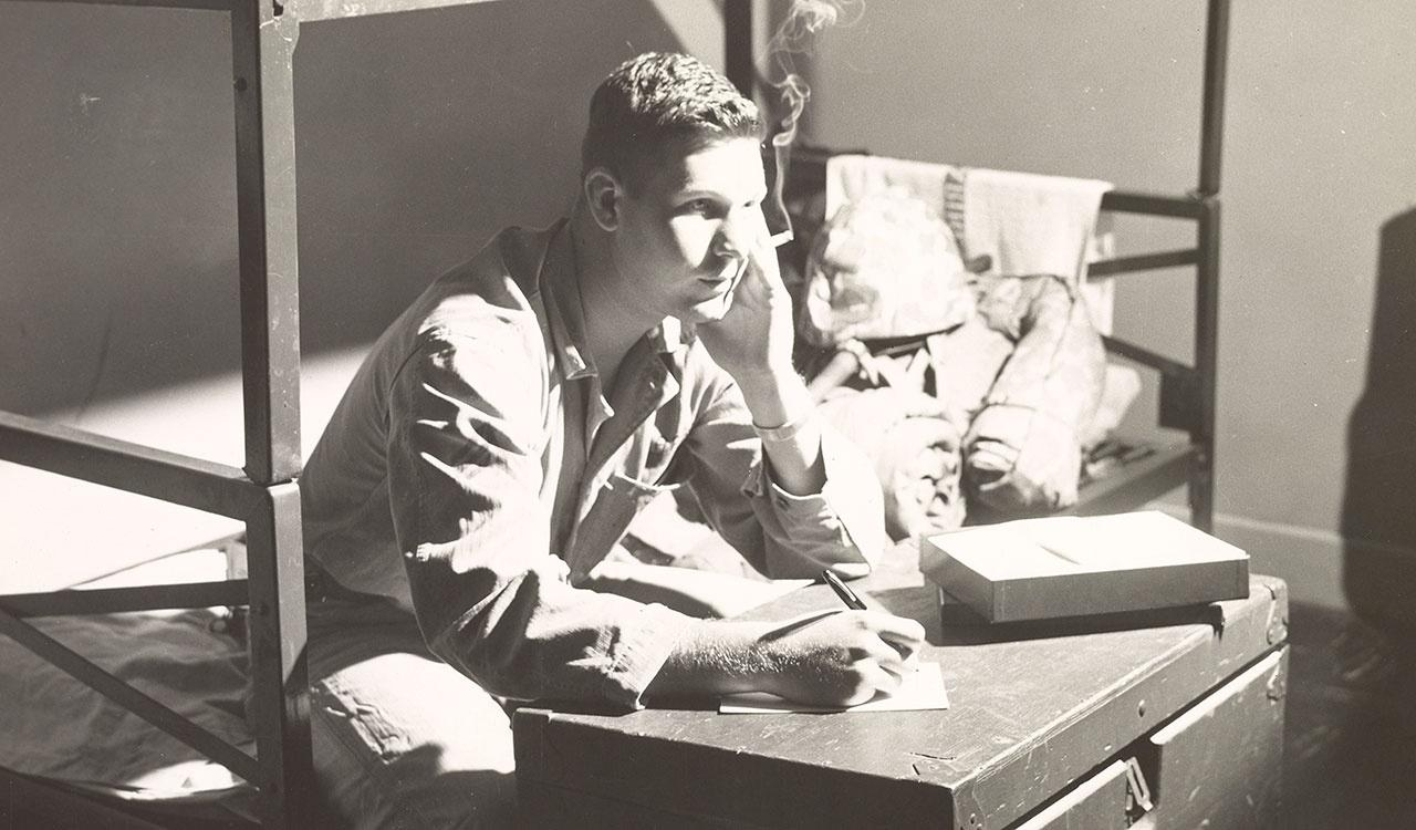Squad leader, Sgt. R.A. Reese, writes home to let his folks know that he might be shipped to the Korean war area