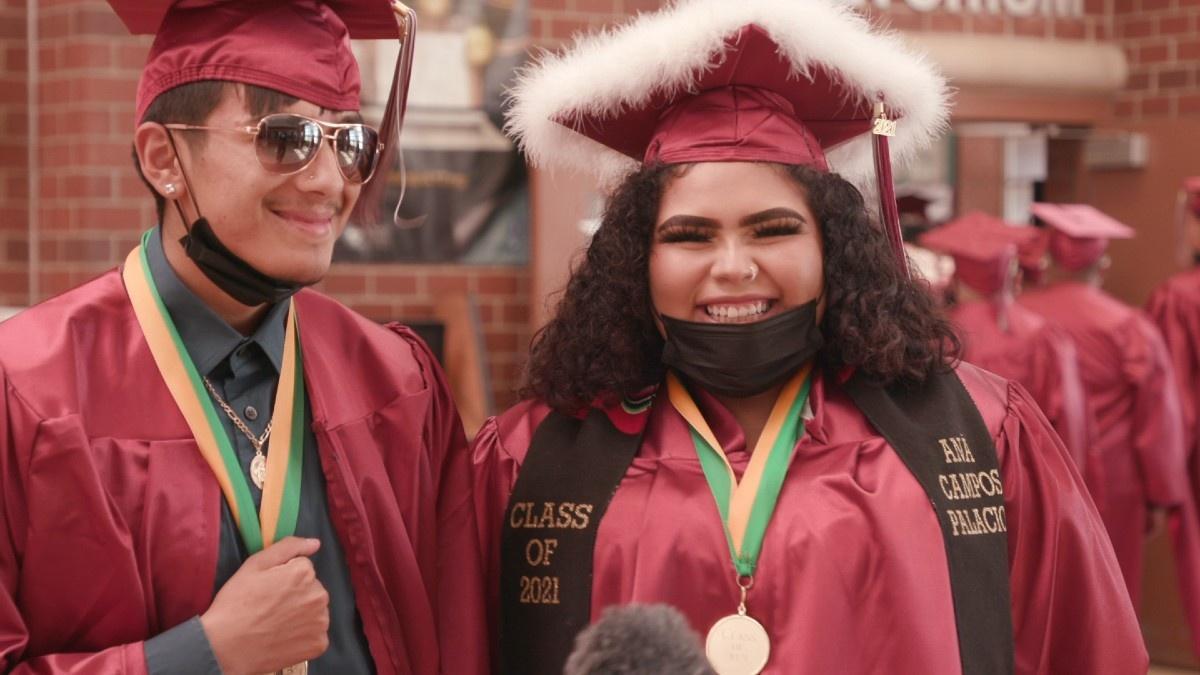 Graduates celebrate the end of senior year at Bruce Randolph School
