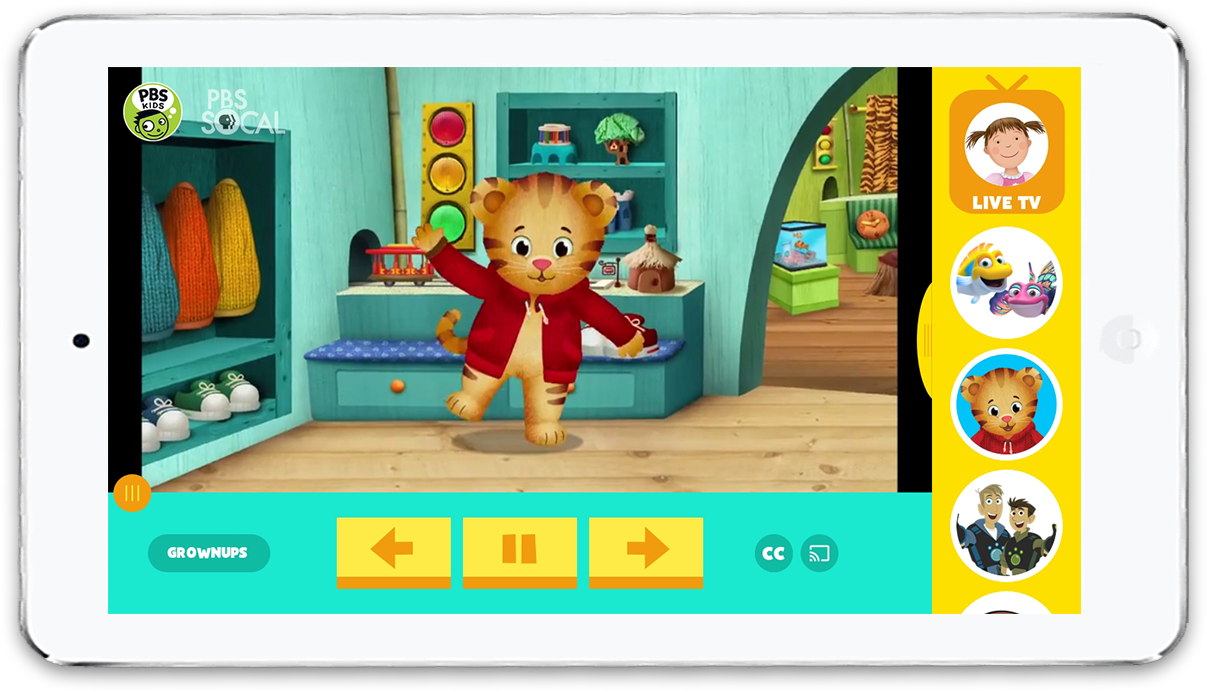 Daniel Tiger playing on a white iPhone