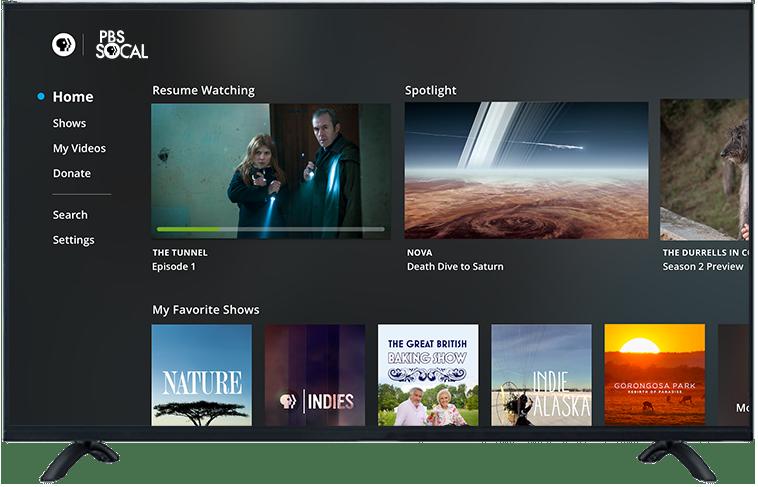 TV displaying PBS home menu