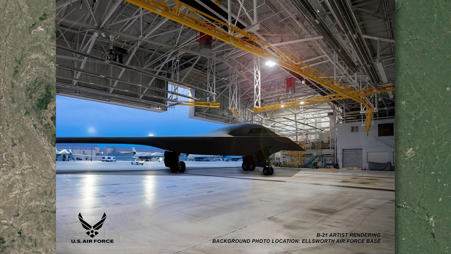 An artist's rendering of a B-21 Raider at Ellsworth Air Force Base.