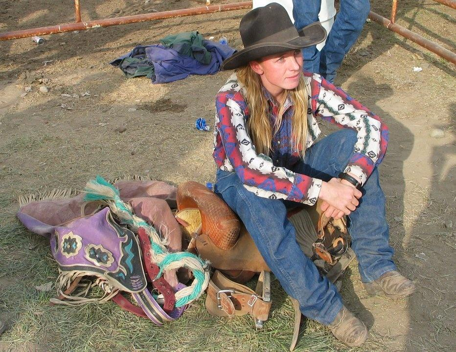 Cowgirl Casey Ayers prepares to ride