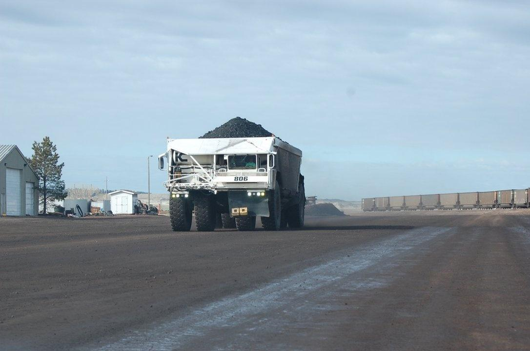 oversized truck hauling coal Colstrip power plant