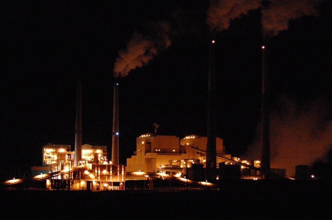 Colstrip power plant at night