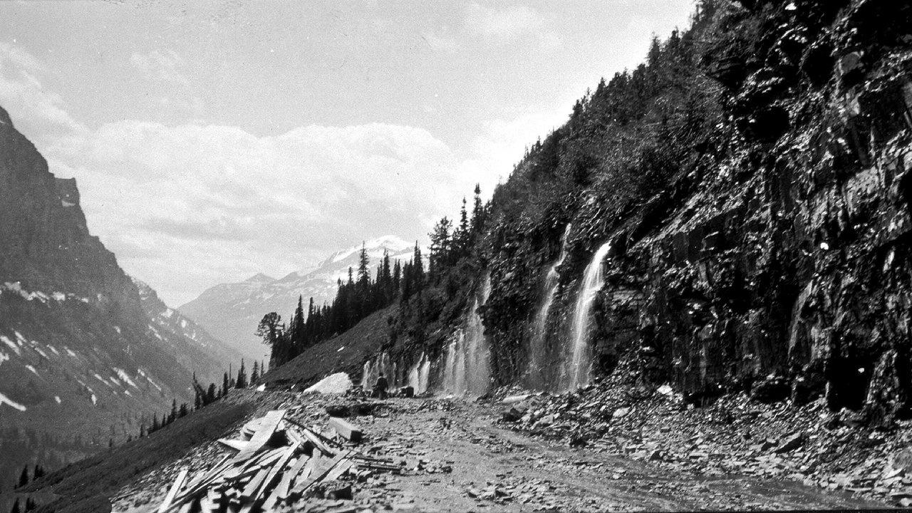 Weeping Wall Road construction 1928 Glacier Park Archives