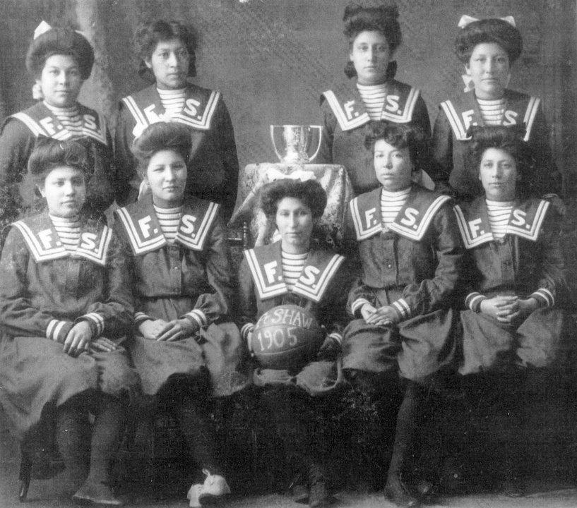 Fort Shaw Indian Boarding school girls basketball team 1905