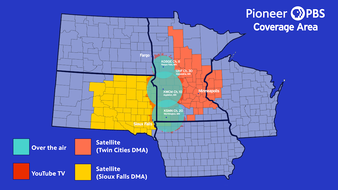 Pioneer PBS's coverage map