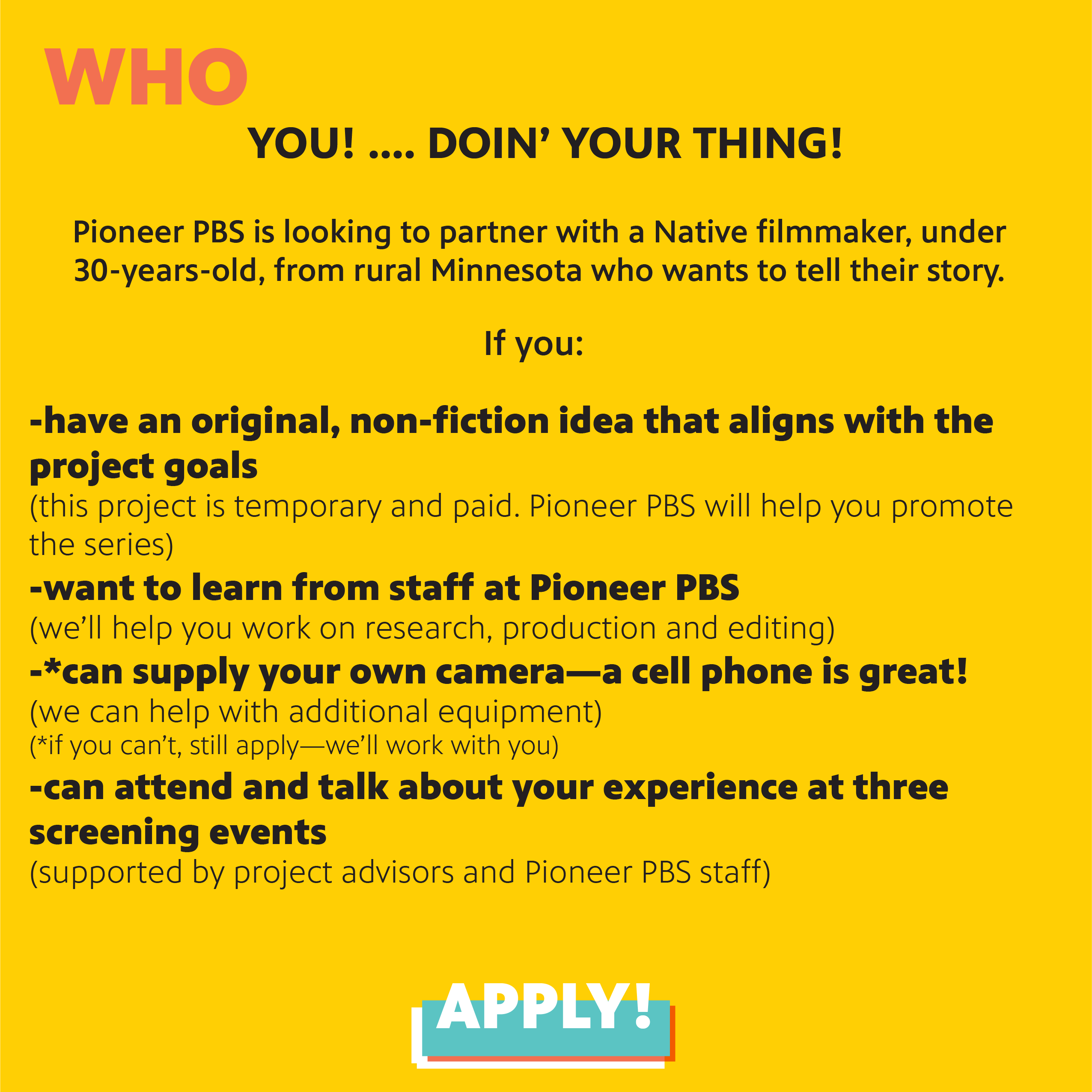 Apply for a PBS digital series opportunity, page two