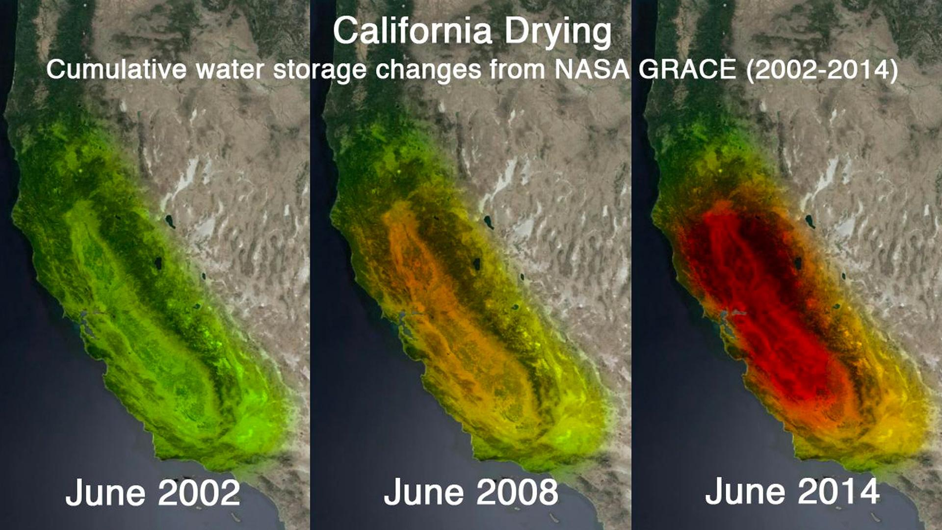 The satellites called GRACE–Gravity Recovery and Climate Experiment–can see into the earth's crust, and measure water storage changes in aquifer systems across the earth.