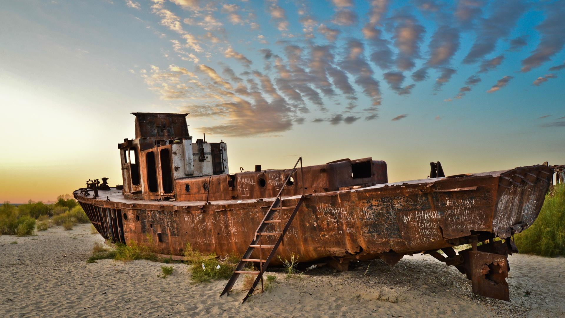 Uzbekistan's Aral Sea was once the 4th largest lake in the world. Rivers that flowed into the Aral sea were diverted to irrigate cotton fields, turning the sea into a desert.