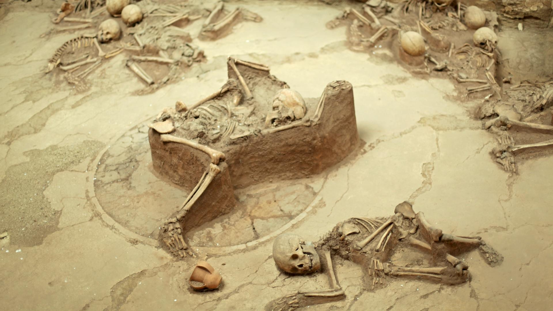 At an archeological site, Lajia, in Qinghai Province, 4,000 year-old skeletons, mainly children, are perfectly preserved in thick layers of mud.