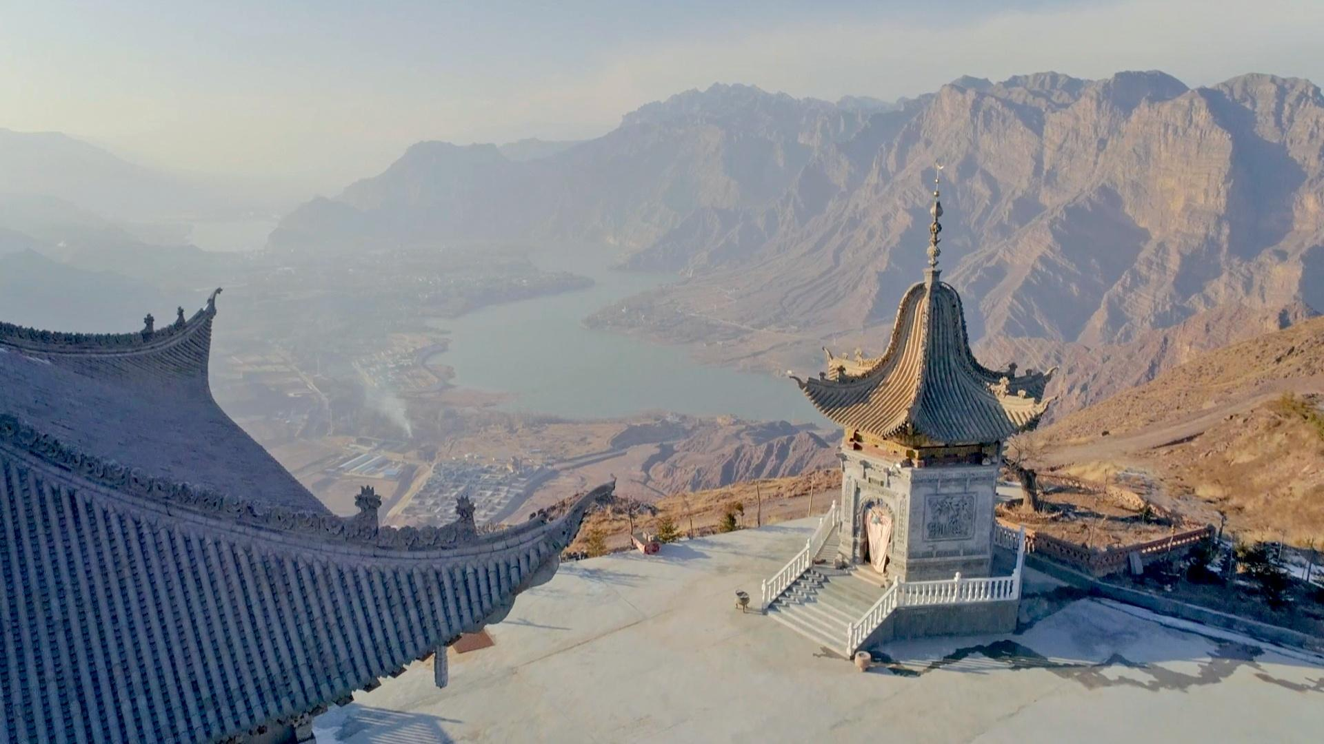 Pagodas overlooking China's ancient Yellow River Valley.