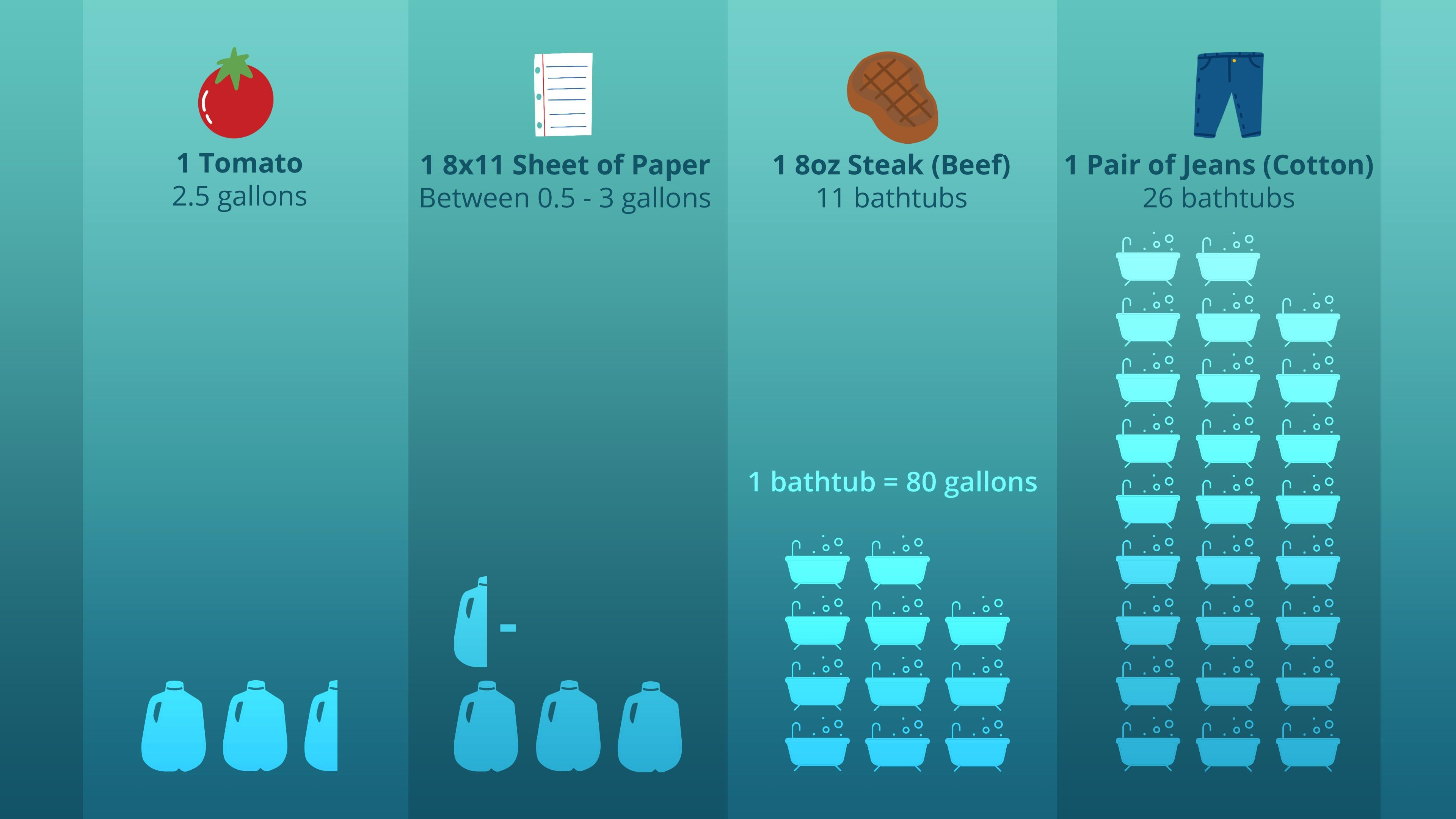 An inforgraphic showing how much water it takes to produce 1 tomato, 1 sheet of paper, 1 8oz steak and a pair of jeans.