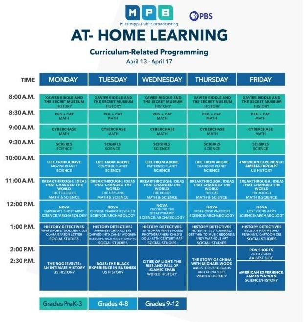 At-Home Learning TV Schedule