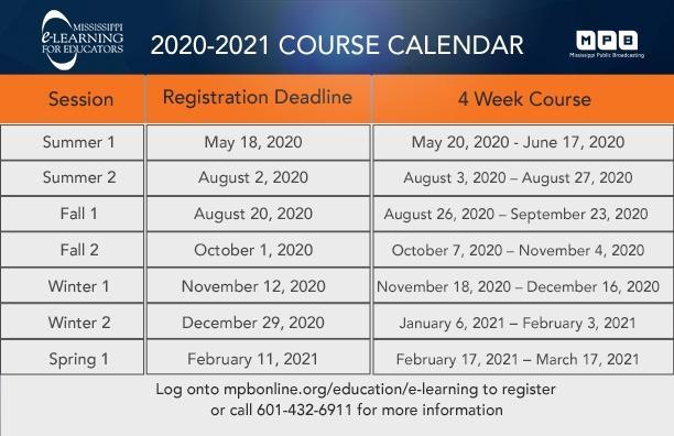 Course Calendar image