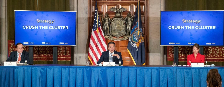 Governor Andrew Cuomo addresses the press