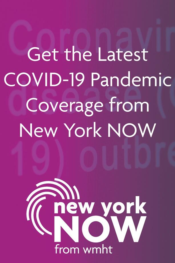 New York NOW COVID-19 coverage poster image with a purple gradient background and white sans-serif type.