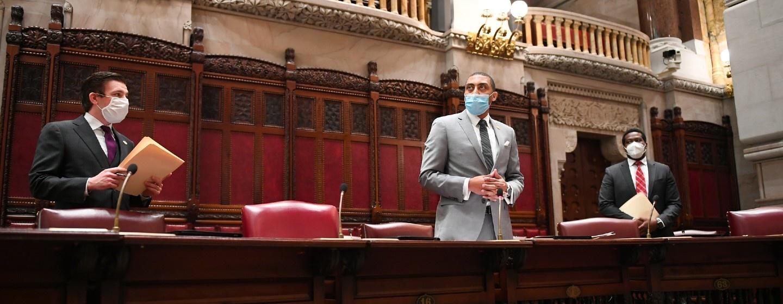 The State Senate debates legislation on Tuesday, June 9, 2020.
