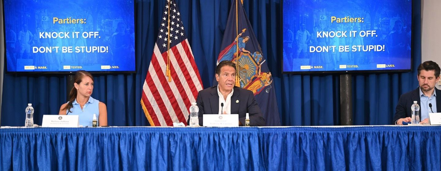Governor Andrew Cuomo addressing the press in July