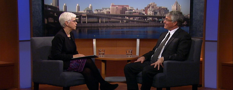 Reporter Karen DeWitt interviews Assemblyman Phil Steck on the set of New York NOW.