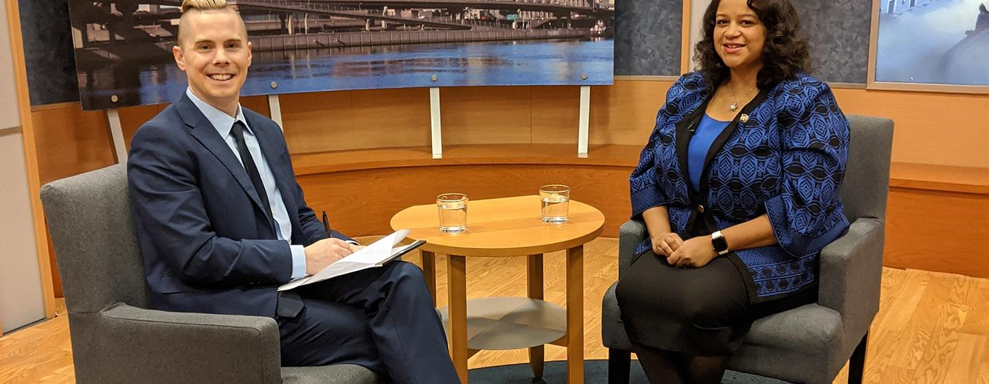 Dan Clark on the New York NOW set with Assemblywoman Michaelle Solages